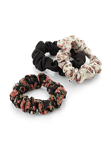 Floral tapestry thin scrunchies  Set of 3