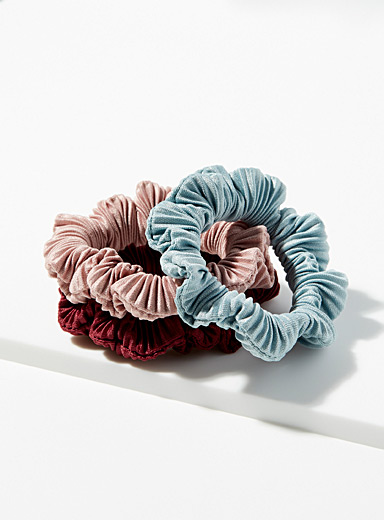 Simons Pink Pleated scrunchies  Set of 3 for women