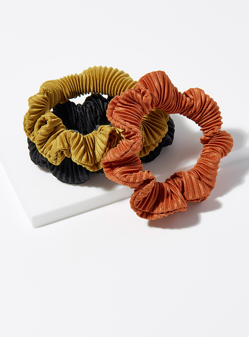 Pleated scrunchies  Set of 3 - Scrunchies - Golden Yellow