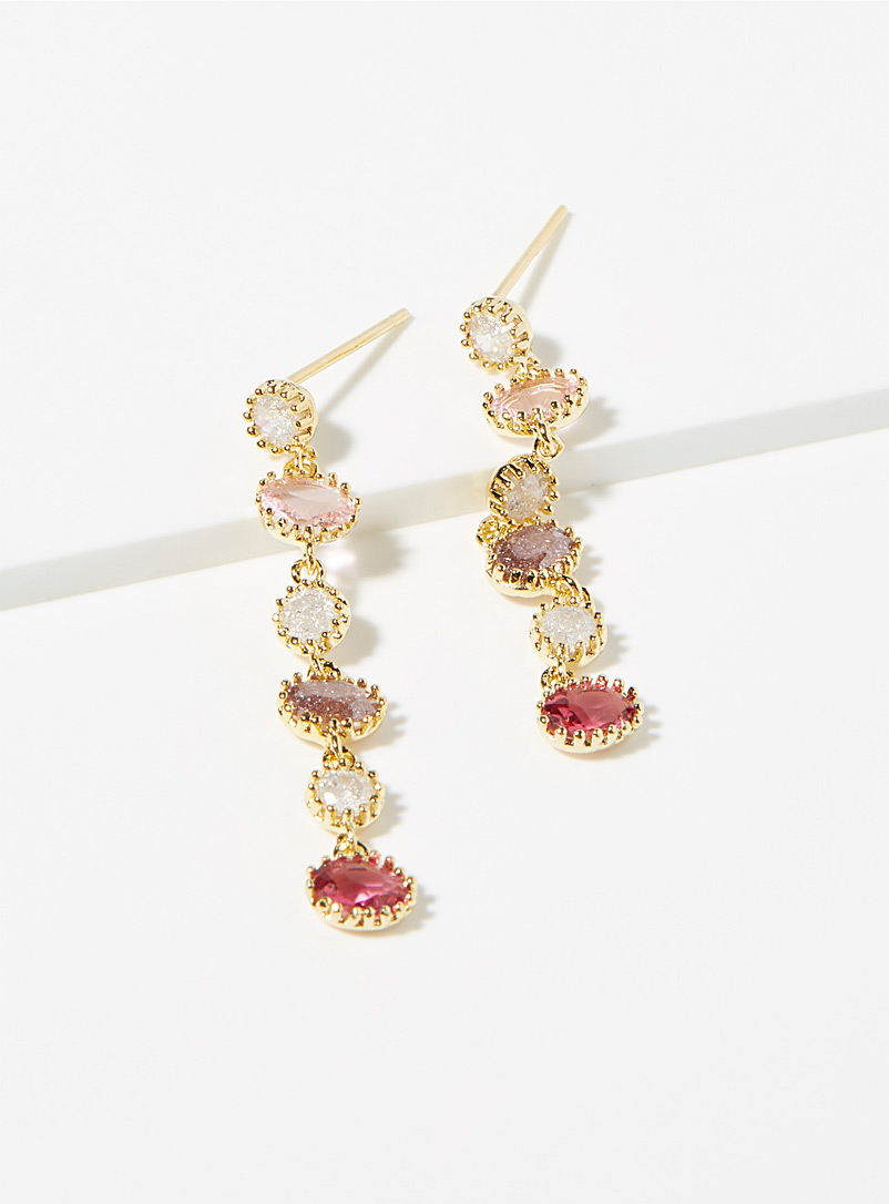 Pink cascading earrings - Earrings - Golden Yellow