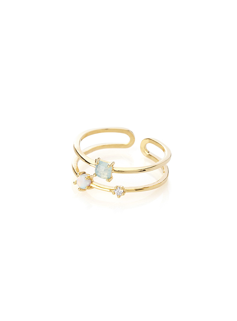 Semi-precious stone double ring - Rings - Golden Yellow