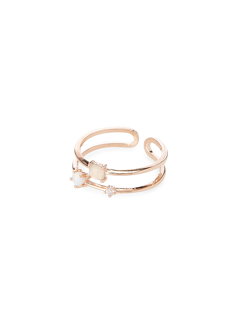 Semi-precious stone double ring - Rings - Assorted