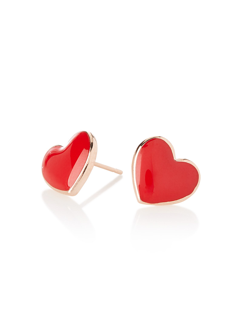 Colourful heart earrings - Earrings - Red