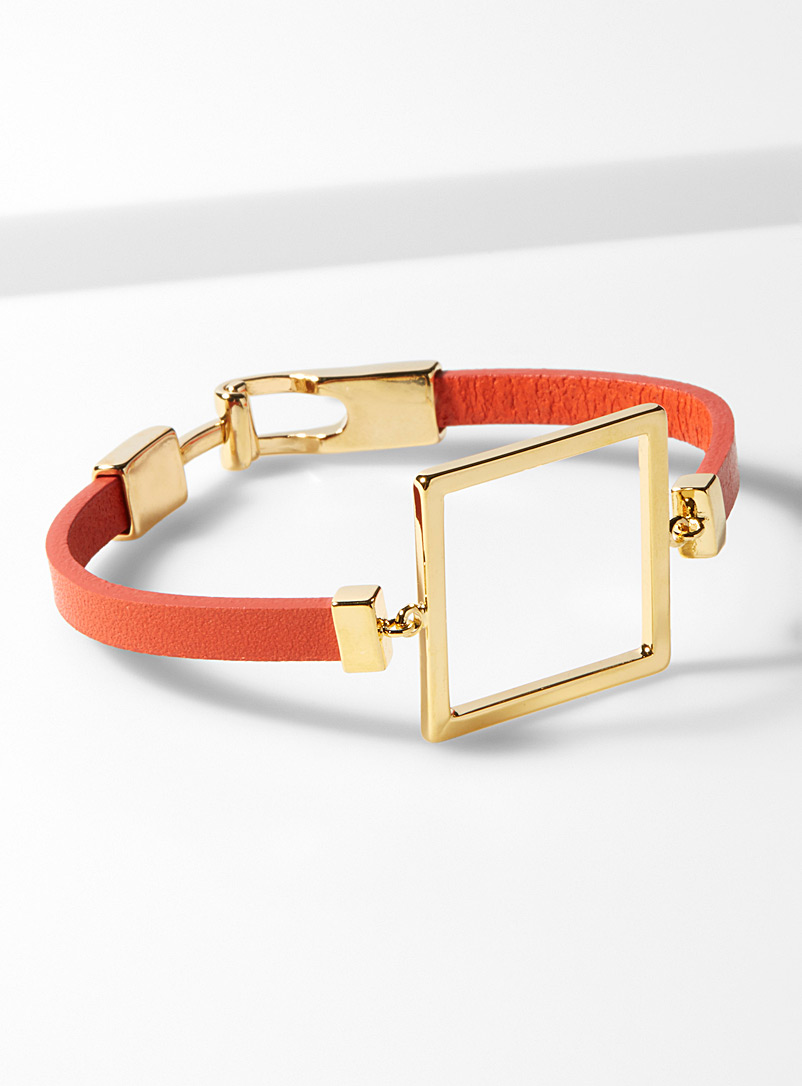 Gold square bracelet - Bracelets - Patterned Orange