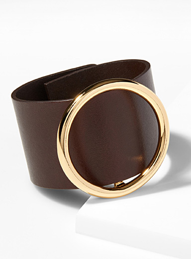 Large leather ring bracelet