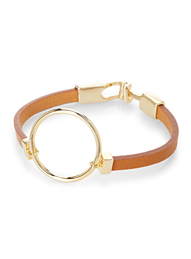 Mega-hoop faux-leather bracelet