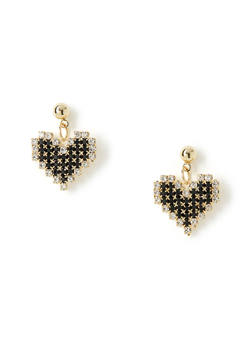 Shimmery heart earrings - Earrings - Black