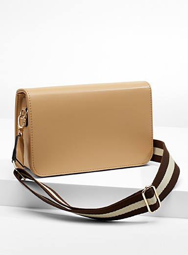 Striped strap shoulder bag