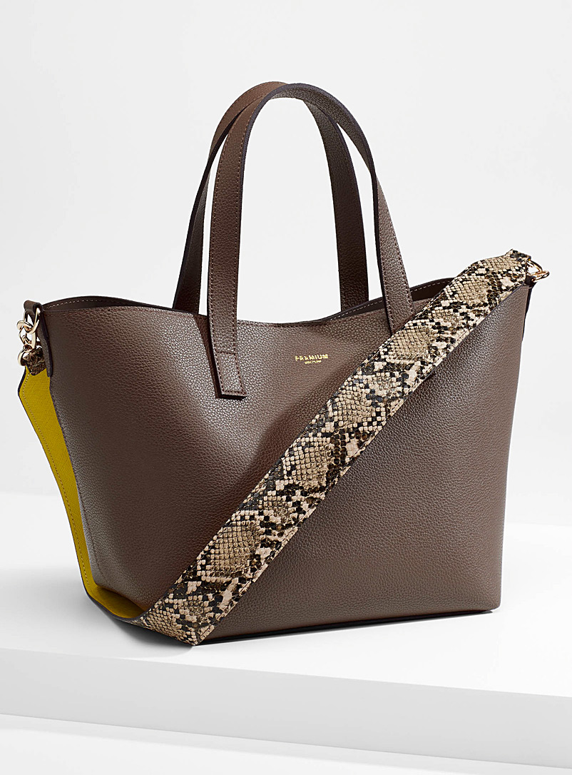 Simons Brown Python strap tote for women