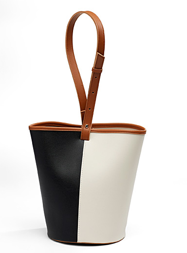 Two-tone bucket bag and clutch