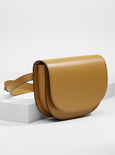Simons Golden Yellow Minimalist saddle belt bag for women