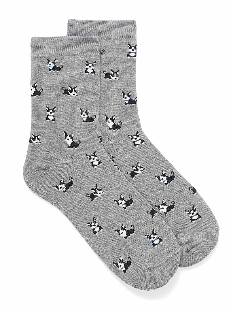 Simons Grey Friendly puppy ankle socks for women