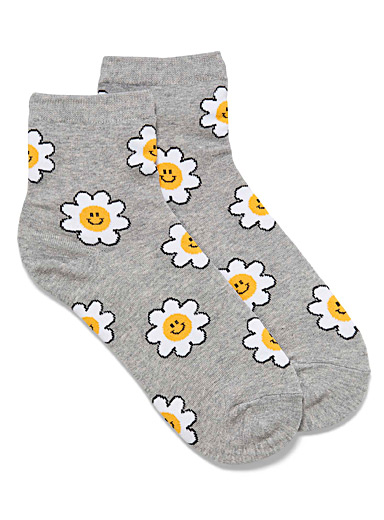 Simons Grey Smiling daisy socks for women
