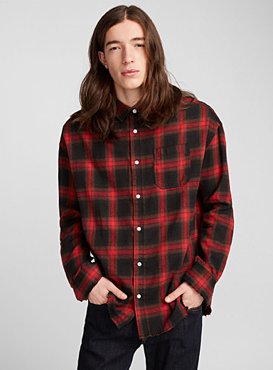 Grunge check flannel shirt
