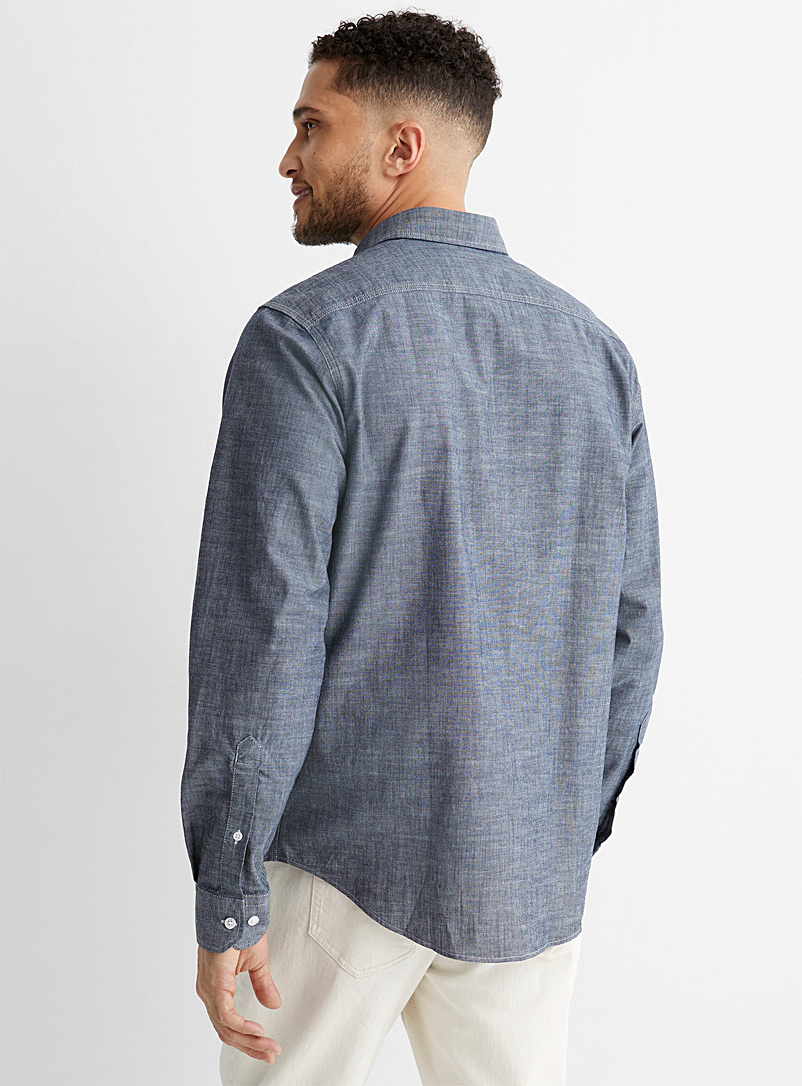 Le 31 Blue Chambray worker shirt Modern fit for men