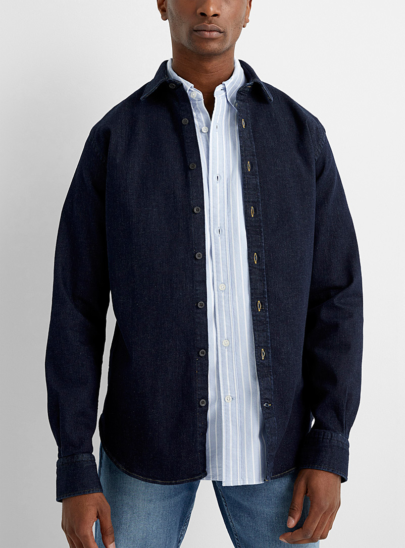Le 31 Dark Blue Denim overshirt Modern fit for men