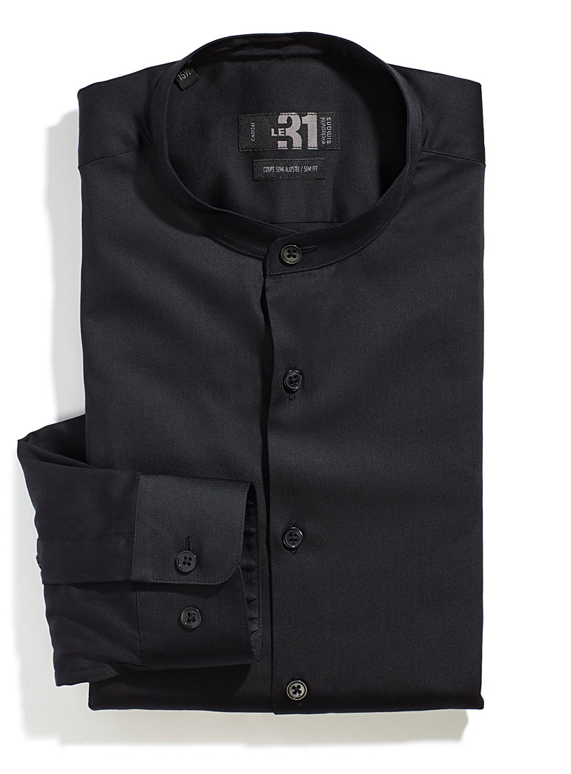 Le 31 Black Officer collar shirt  Modern fit for men