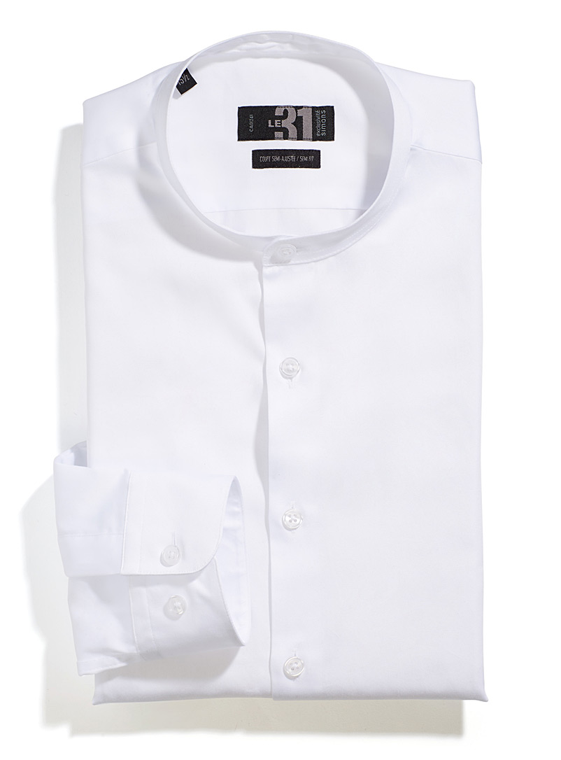 Le 31 White Officer collar shirt  Modern fit for men