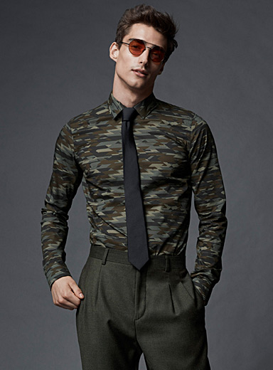 Graphic camouflage shirt  Slim fit