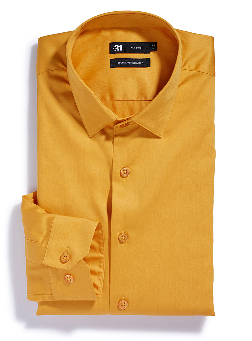 Brightly-coloured shirt  Tailored fit - Tailored fit - Medium Yellow