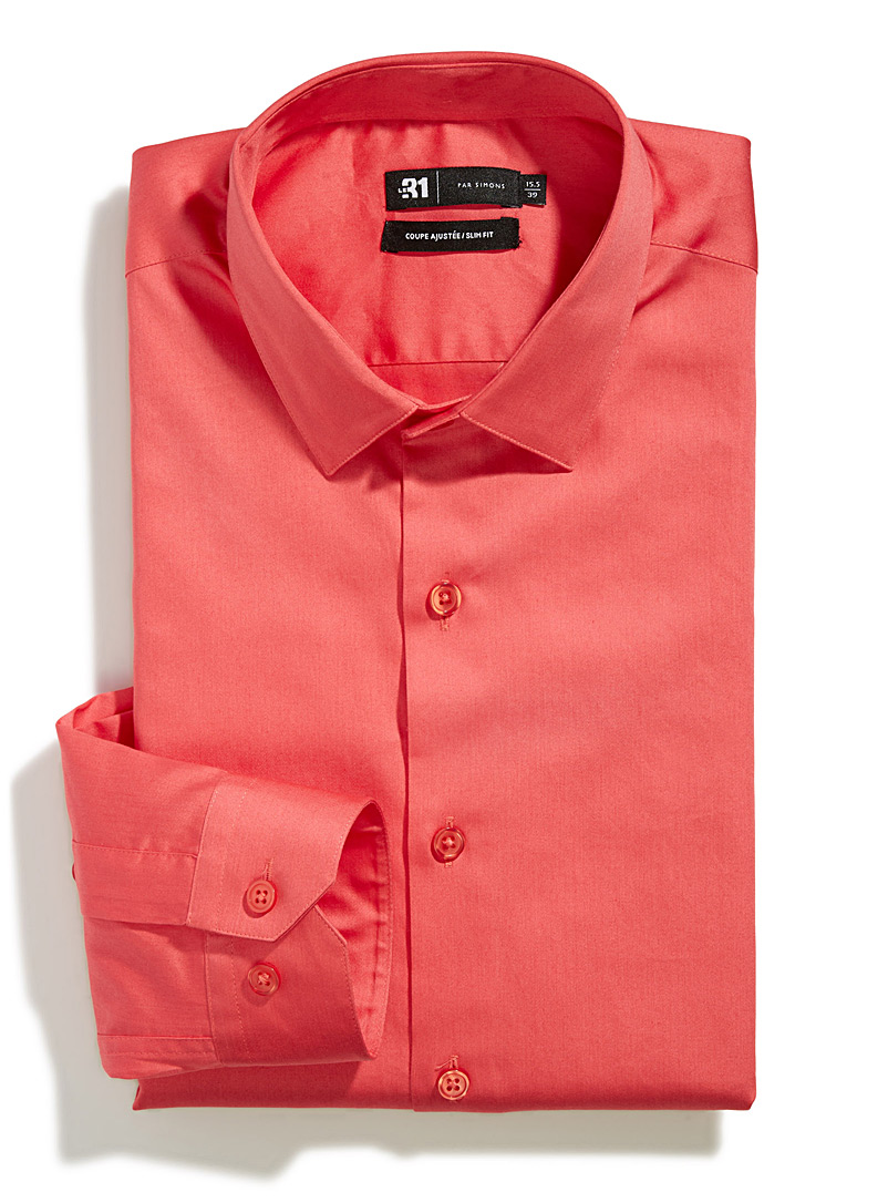Brightly-coloured shirt  Slim fit - Slim Fit - Coral