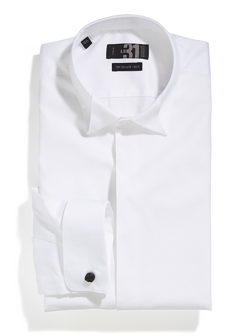 Le 31 White Origami collar tuxedo shirt  Modern fit for men