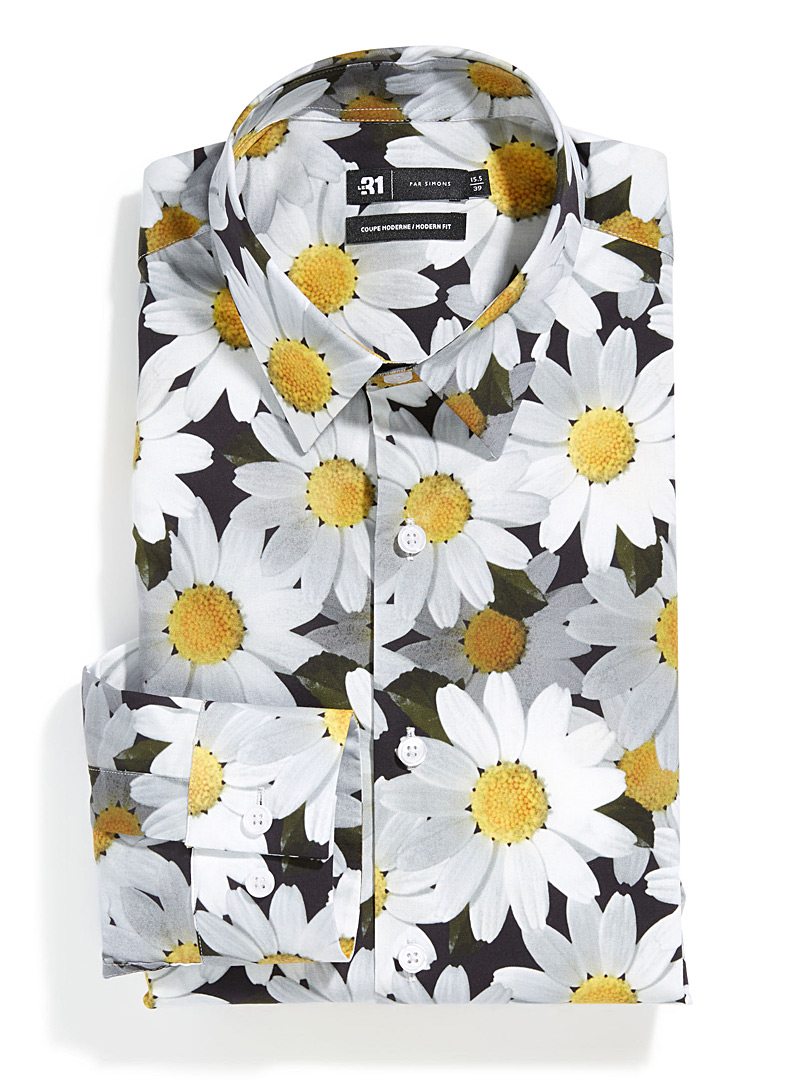 Daisy bouquet shirt  Modern fit - Modern fit - Patterned Black