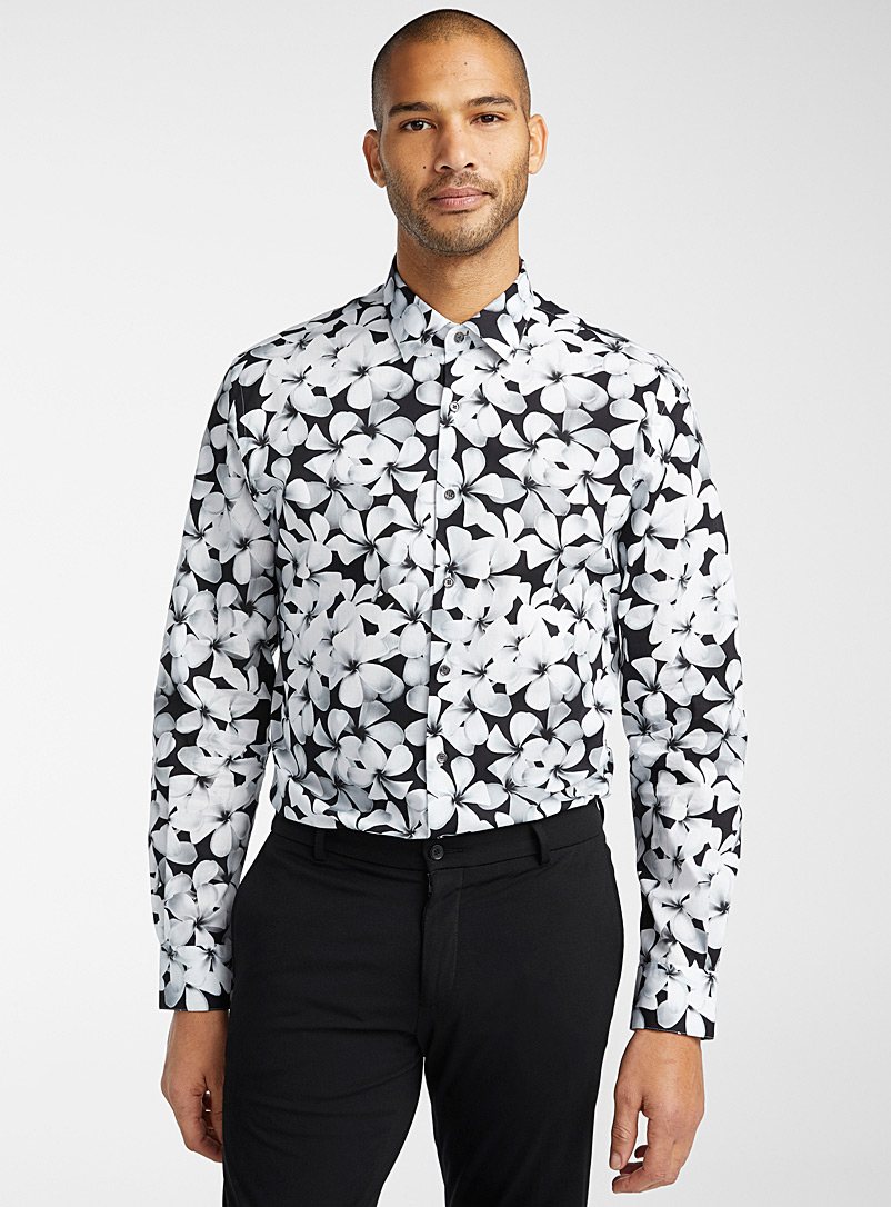 Le 31 Patterned Black Contrasting flower shirt  Modern fit for men
