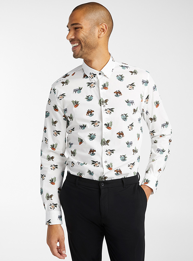Le 31 Ivory White Flower and feline shirt  Modern fit for men