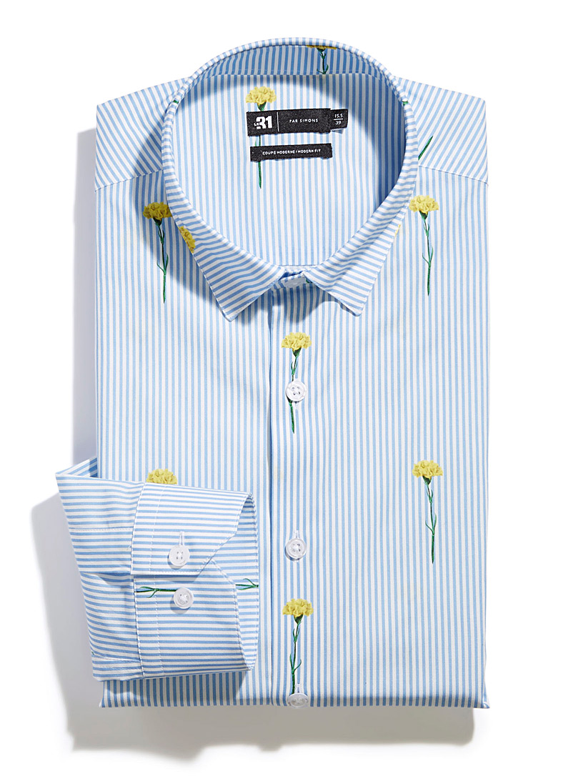 Le 31 Slate Blue Floral stripe shirt  Modern fit for men