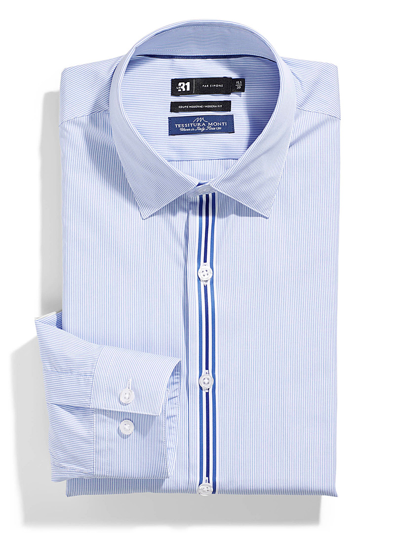 Le 31 Patterned Blue Striped button placket shirt  Modern fit for men