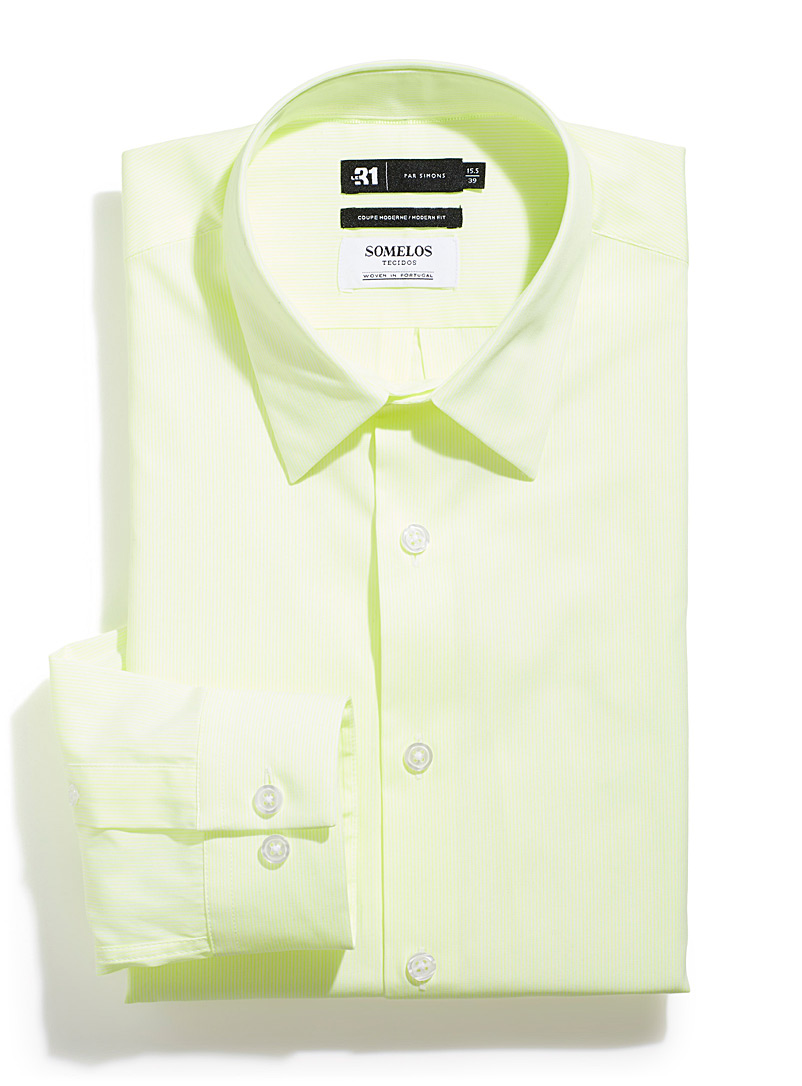 Le 31 Golden Yellow Neon stripe shirt  Modern fit for men