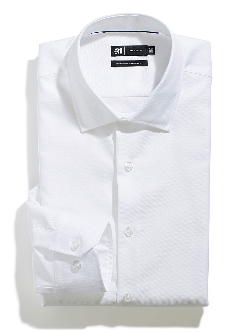 Le 31 White Solid piqué shirt  Modern fit for men