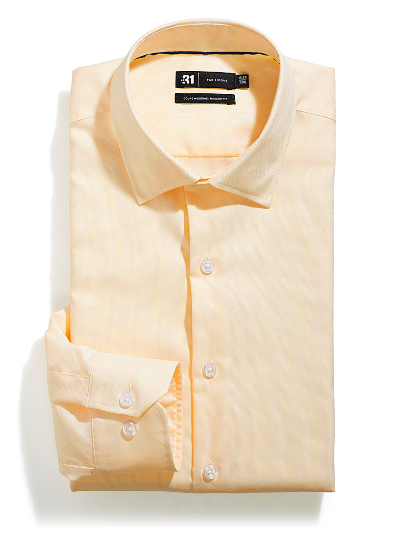 Le 31 Golden Yellow Solid piqué shirt  Modern fit for men