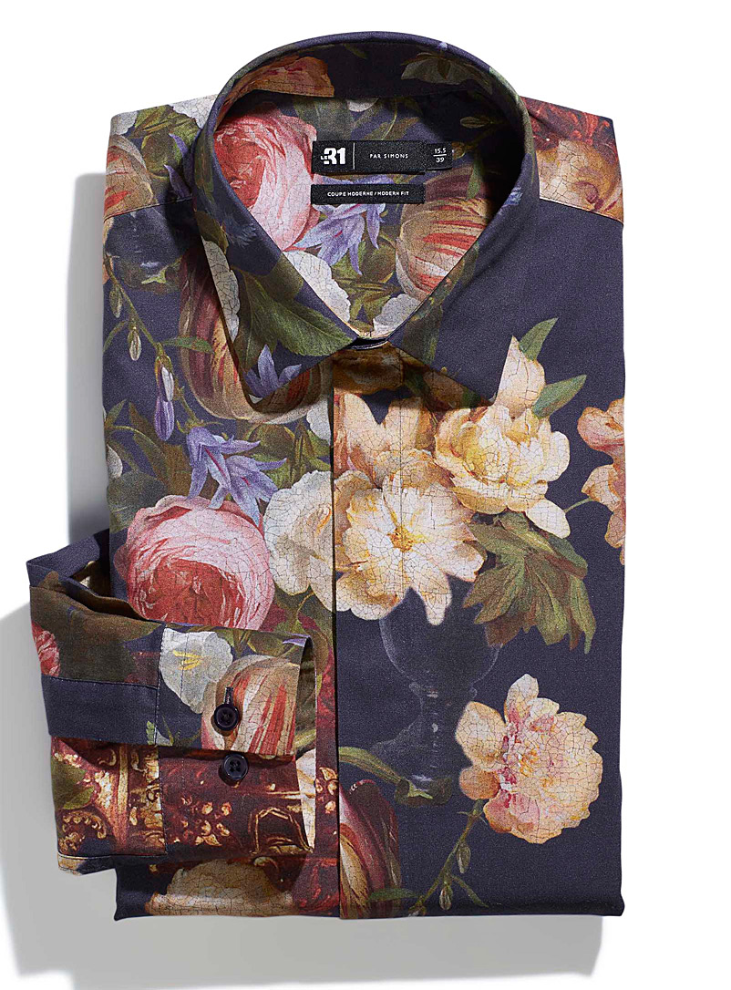 Le 31 Assorted Floral painting shirt Modern fit for men