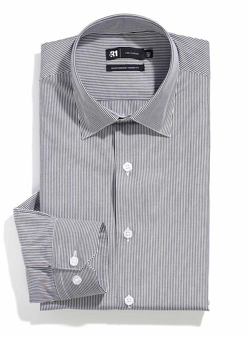 Le 31 Black Banker stripe shirt  Modern fit for men