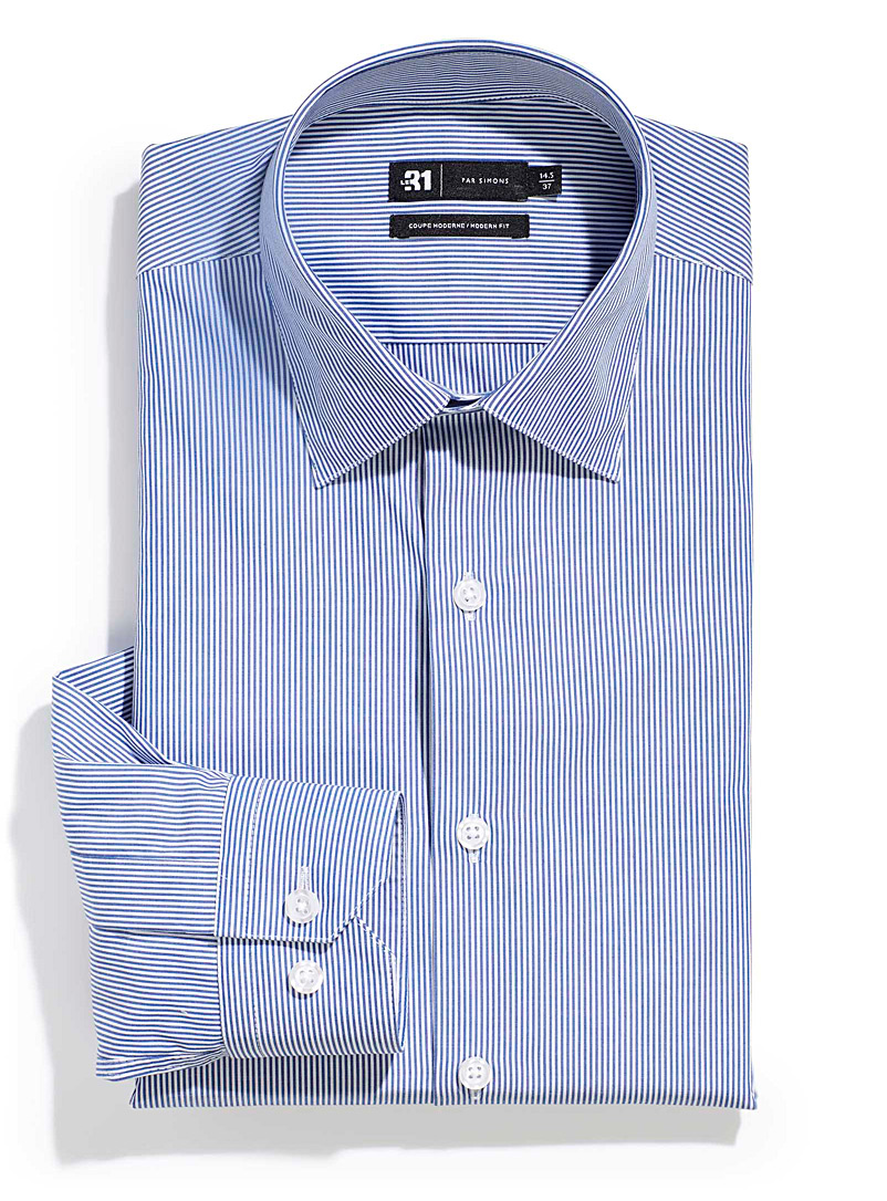 Le 31 Blue Banker stripe shirt  Modern fit for men