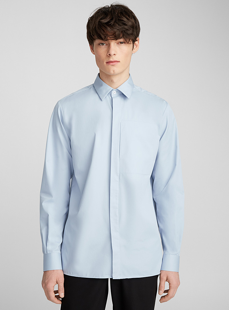 White modern pocket shirt  Semi-tailored fit - Solid - Baby Blue