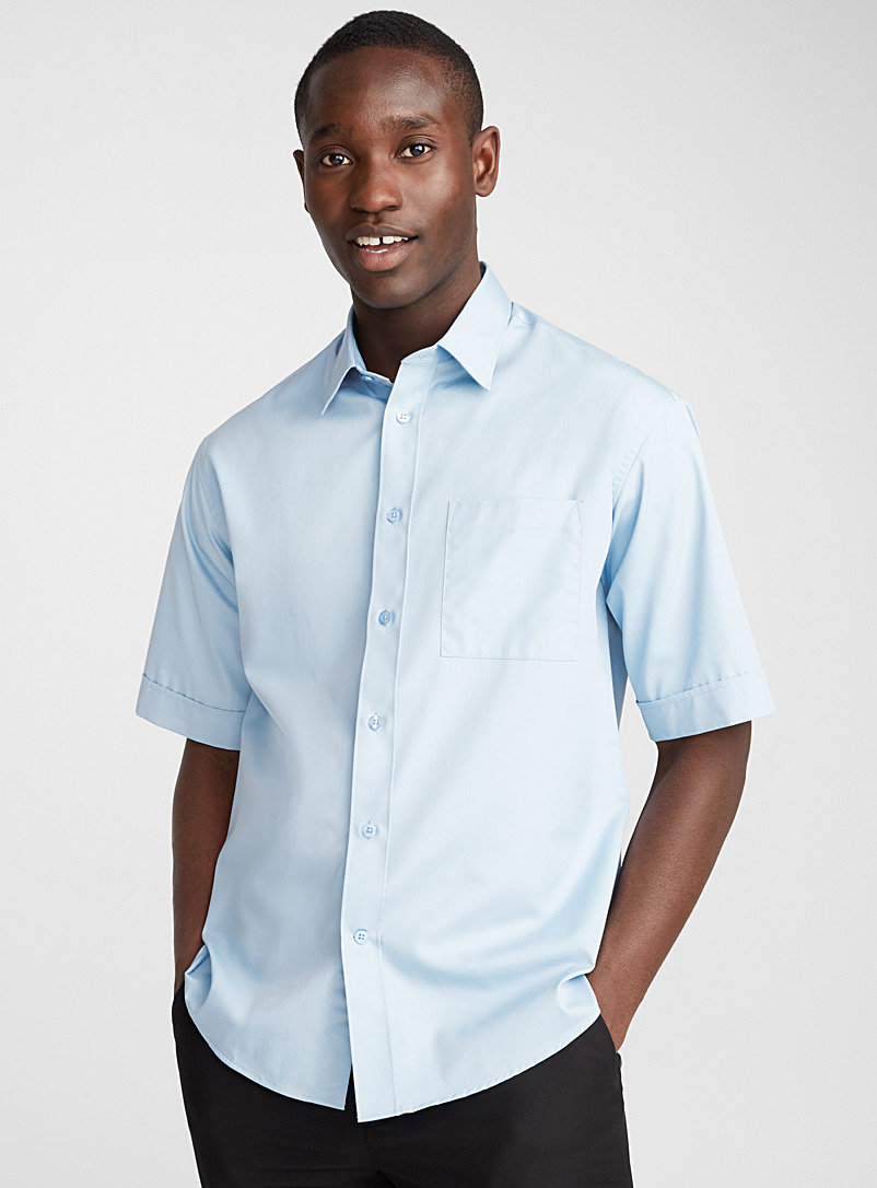 Minimalist loose shirt  Semi-tailored fit - Solid - Baby Blue