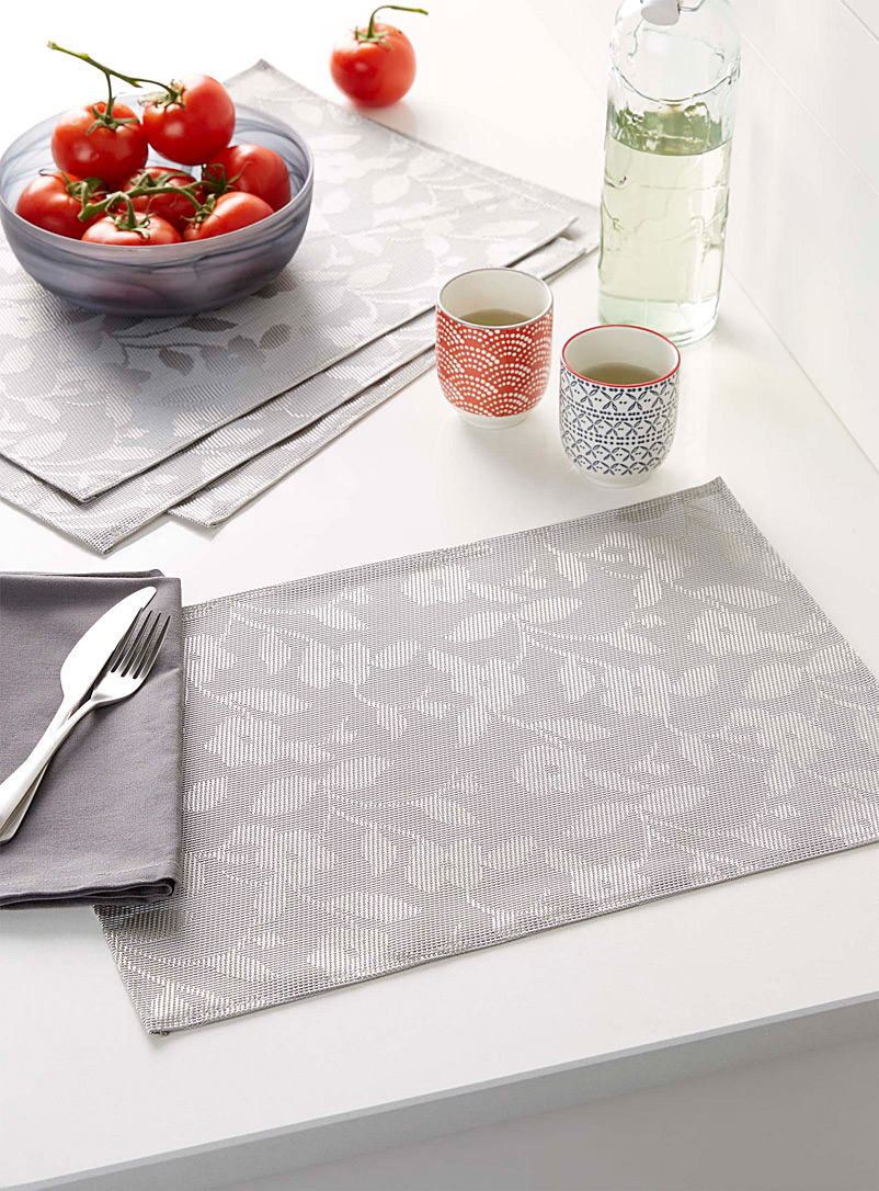 Floral shadows braided vinyl placemats  Set of 4 - Vinyl - Silver