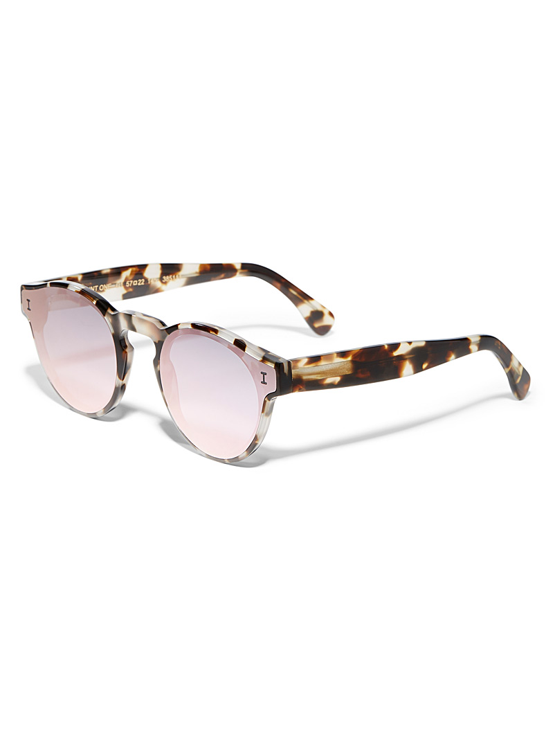 Illesteva Patterned White One Point One round sunglasses for women