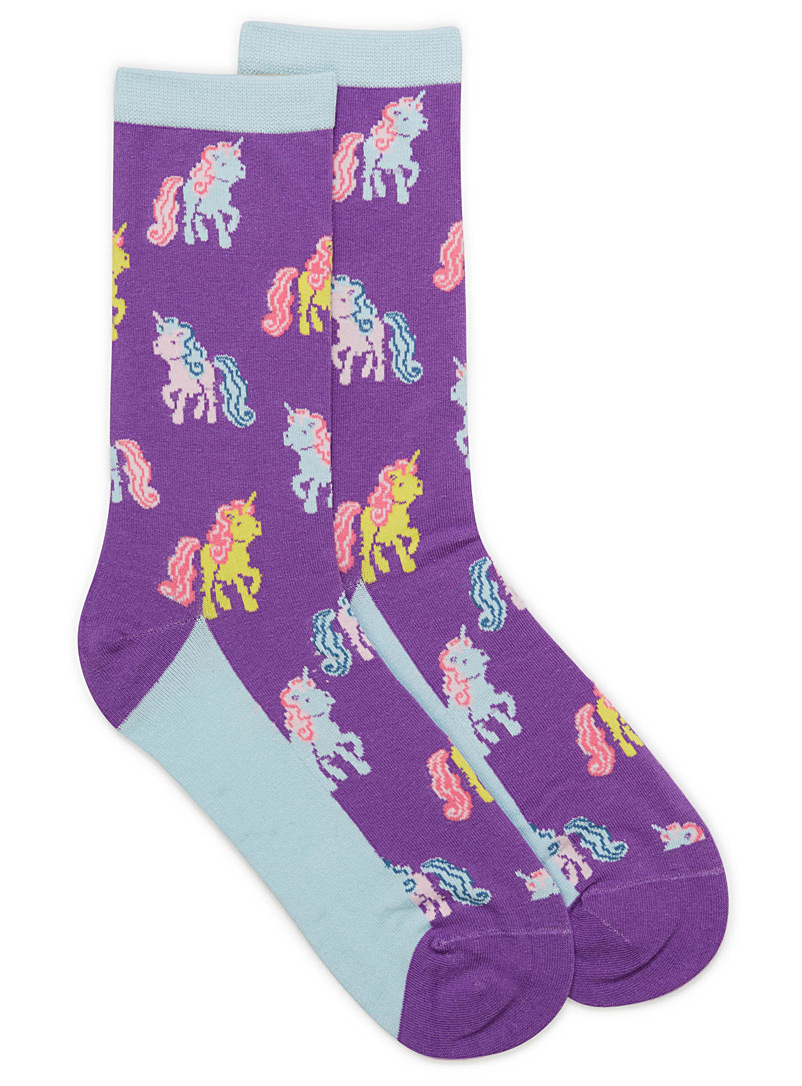 Retro pony socks - Socks - Mauve
