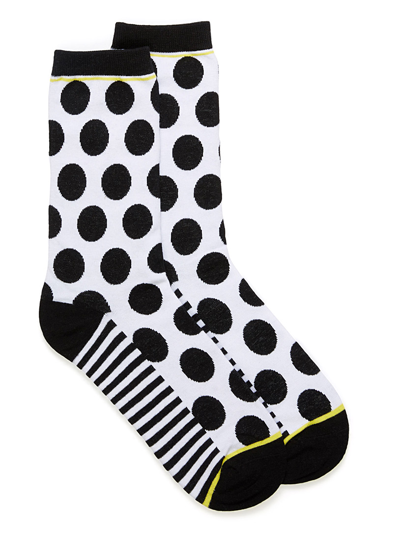 Two-tone mega dot socks - Socks - White