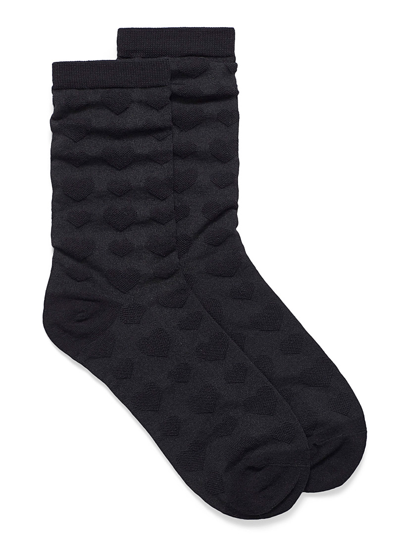 Simons Charcoal Organic cotton embossed heart socks for women