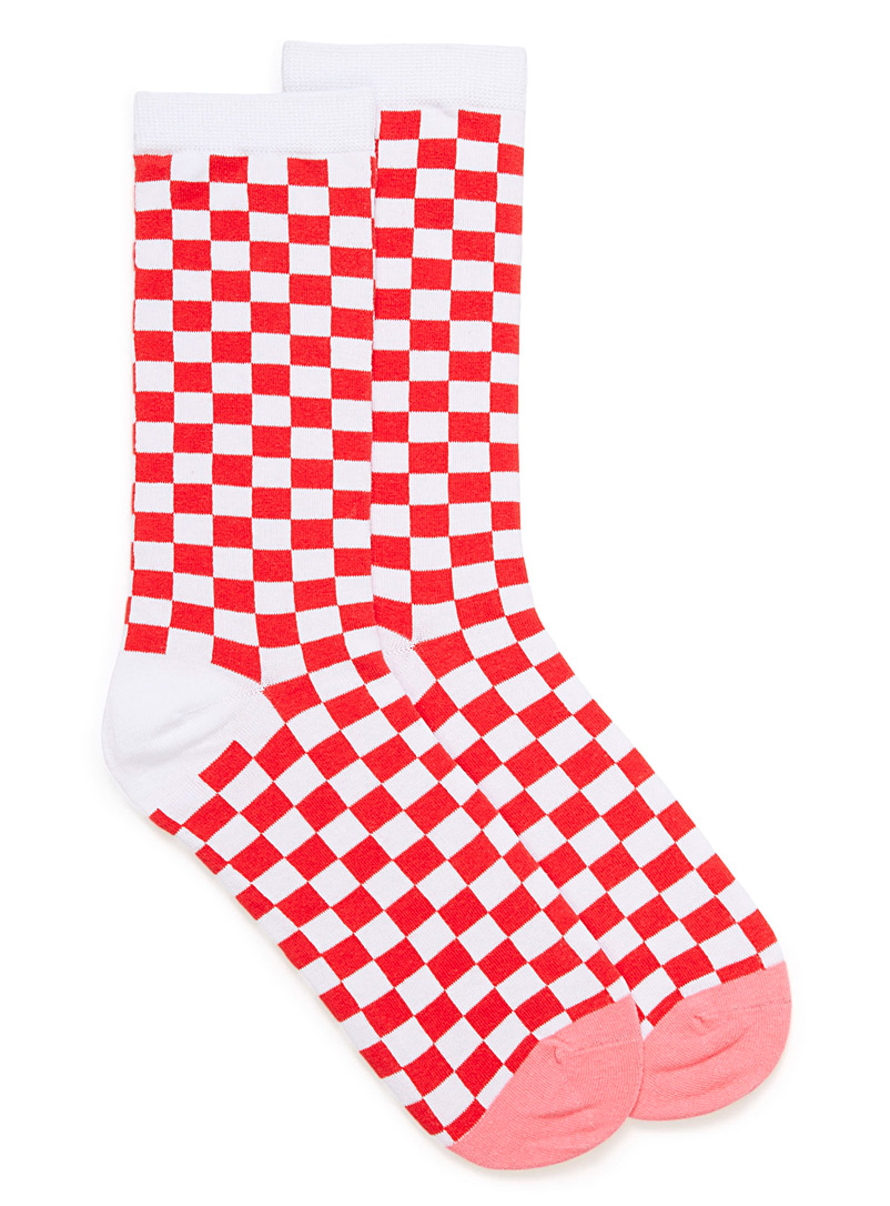 Race flag socks - Socks - Patterned Red