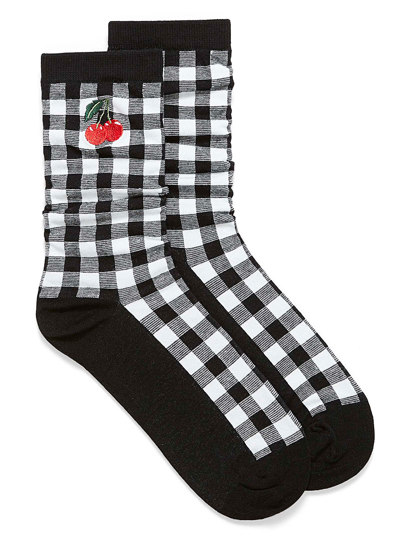Simons Black Organic cotton fruity check socks for women