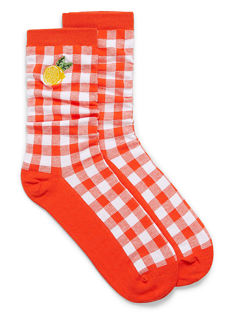 Simons Red Organic cotton fruity check socks for women