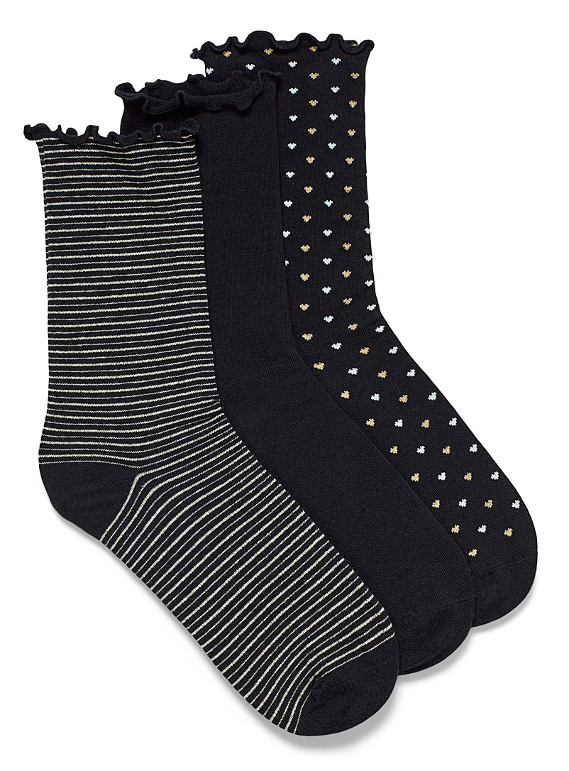 Simons Black Small pattern ruffle socks  Set of 3 for women
