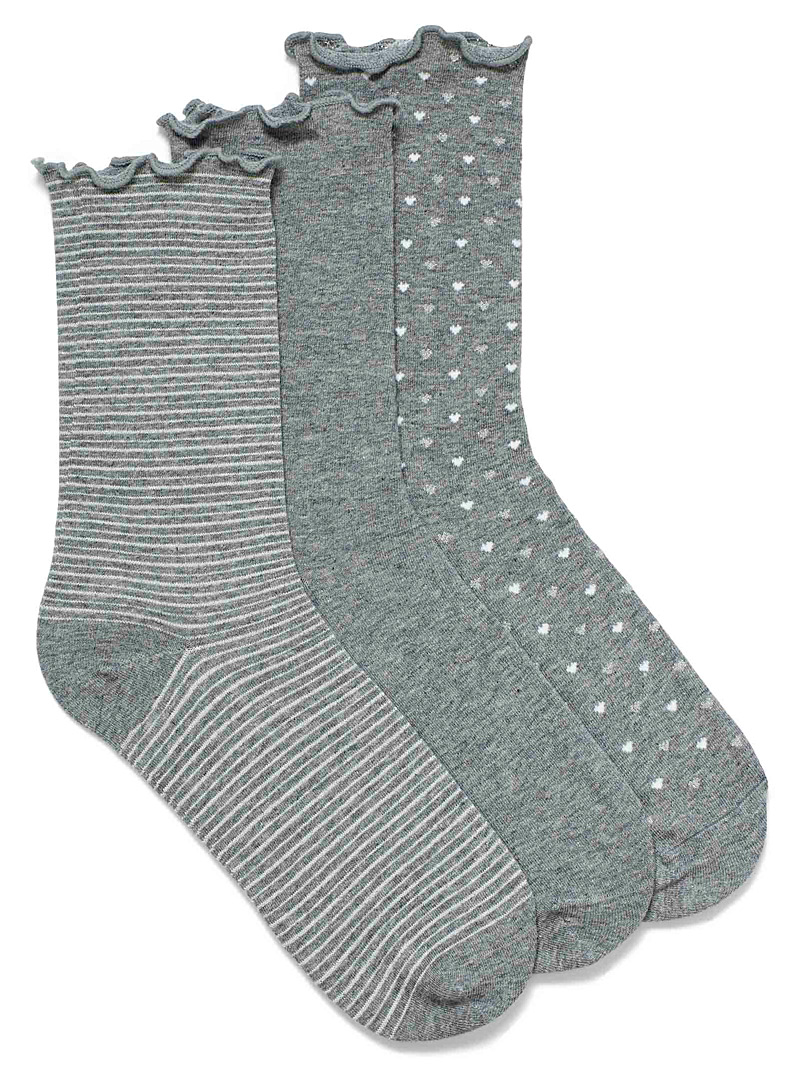 Simons Grey Small pattern ruffle socks  Set of 3 for women