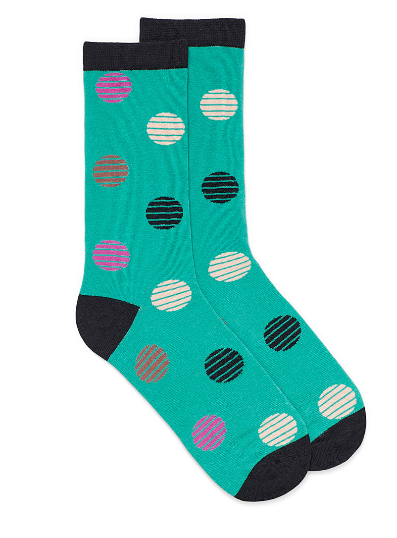 Simons Teal Crisscrossed dot socks for women